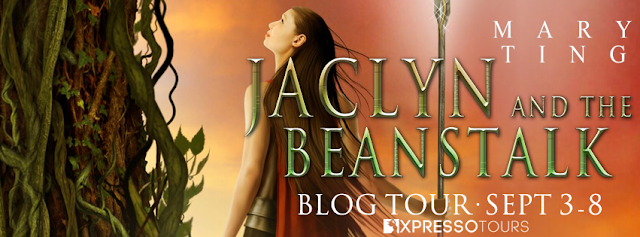 Blog tour banner for JACLYN AND THE BEANSTALK by Mary Ting