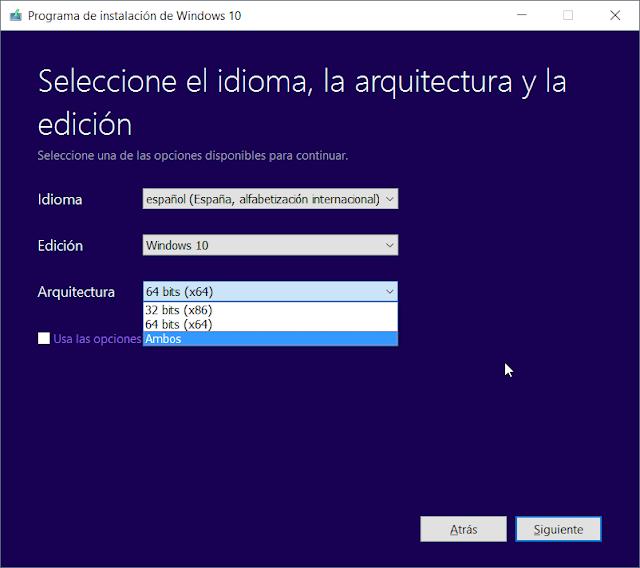 Herramienta de creacion de medios windows 10