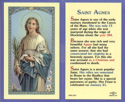 January 21 - St Agnes, virgin, martyr