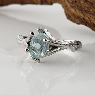 Uncut Rough Aquamarine  Twig Engagement Ring