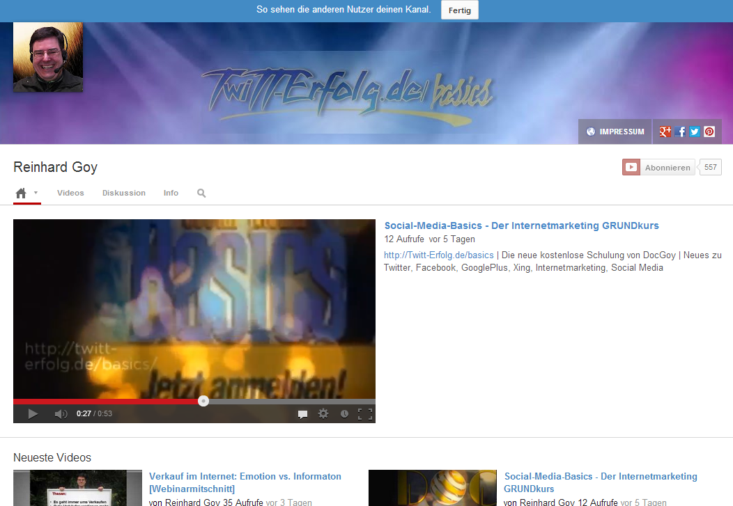 Youtube Kanal öffnen