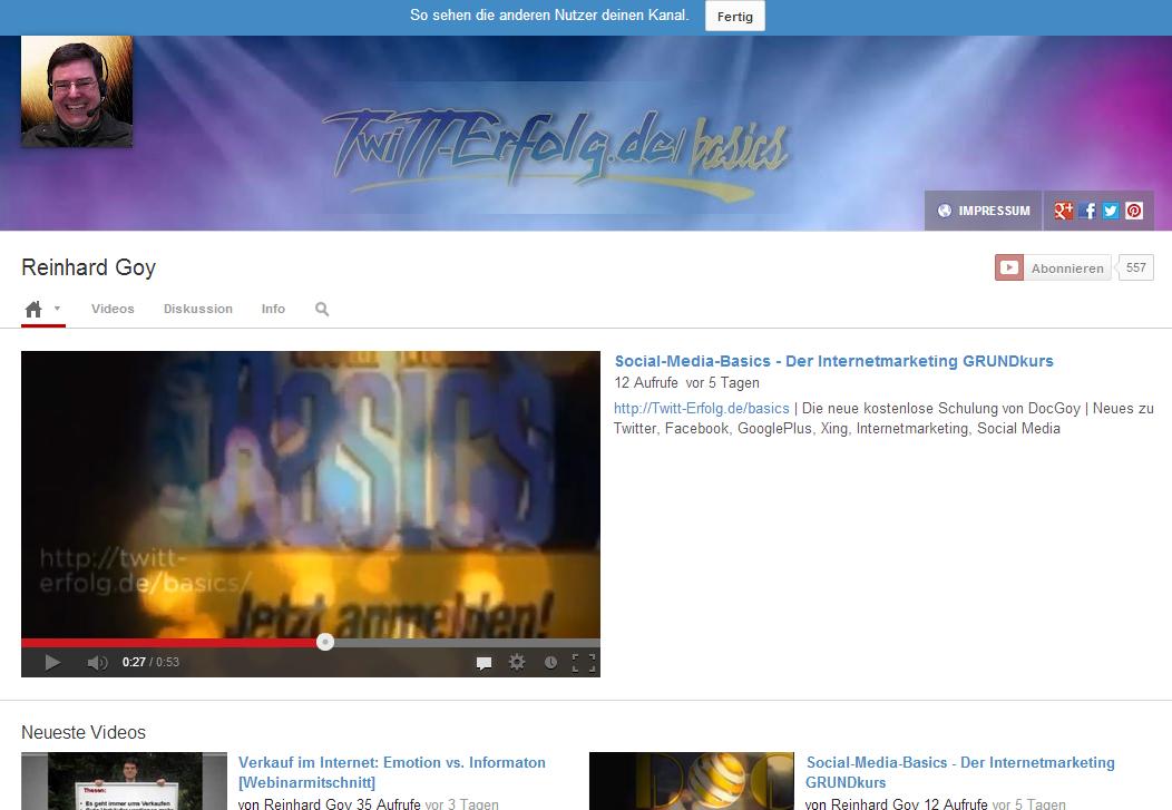 Youtube Kanal Impressum
