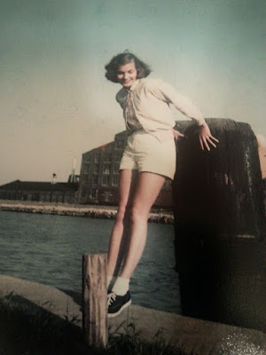 old picture of grandma on the pier on lake michigan