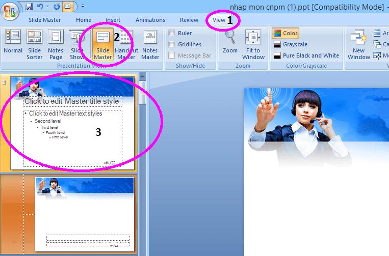 Cách đánh số slide trong power point 2007