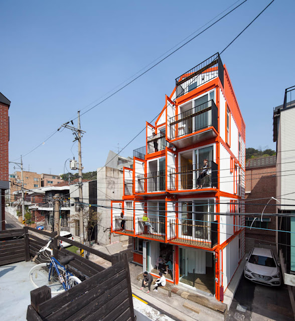 Shipping Container 4 Story House - Office, Cafe and Hotel in Seoul, South Korea 5