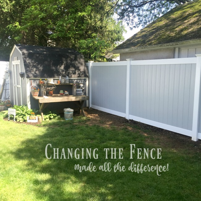 Vinyl fence and garden shed