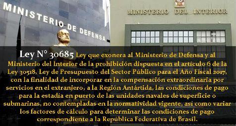 Ley n 30685 ley que exonera al ministerio de defensa y for Pago ministerio del interior