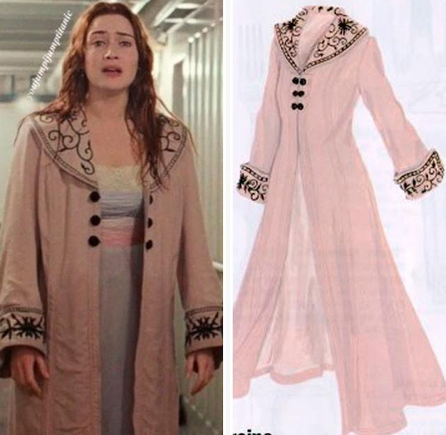 Cena do filme e ao lado desenho do casaco rosa da Rose m Titanic