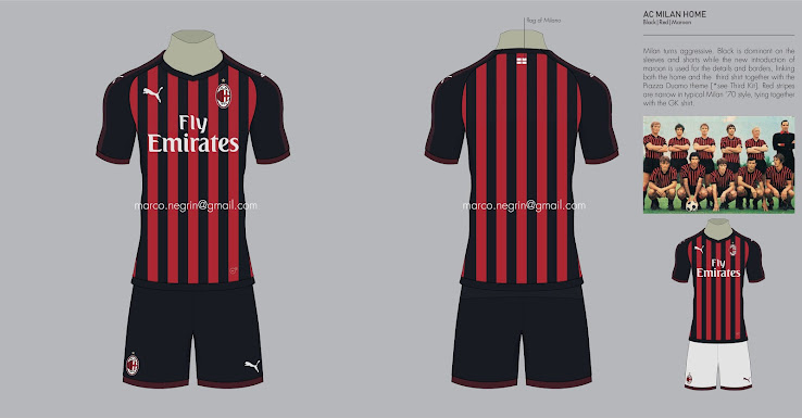 new concept eb88d bb76c Puma AC Milan 18-19 Home, Away & Third Concept Kits by Marco ...