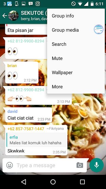 Pada grup whatsapp kamu pilih mute