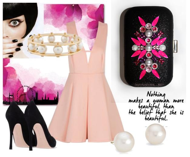 Combinar vestido rosa y negro