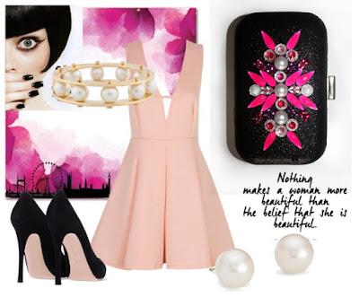 Clutch fucsia y negro para boda look vestido rosa