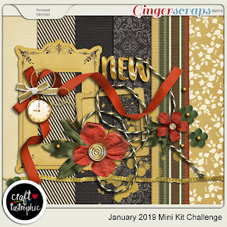 Ginger Scraps December Mini Kit Challenge and Mini Kit Freebie - January 2019 Mini Kit Challenge by Craft-tastrophic