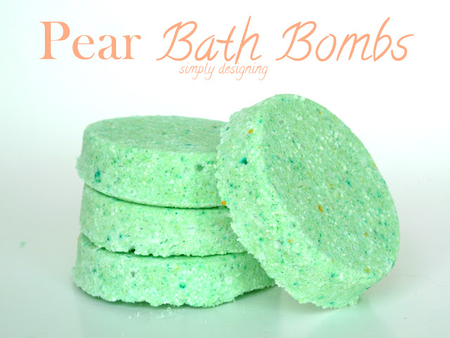 Bath Bomb Recipes are so easy and inexpensive to make and the customization possibilities are endless! This one is made with pear but you can use any fragrance you want to!