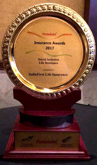 IndiaFirst Life acknowledged with Social Inclusion Award 2017 by Fintelekt