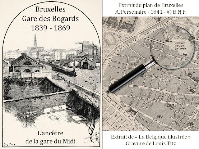 Gare des Bogards - L'ancêtre de la gare de Bruxelles Midi à l'emplacement de l'actuelle place Rouppe et du boulevard de Stalingrad - Bruxelles disparu - Bruxelles-Bruxellons