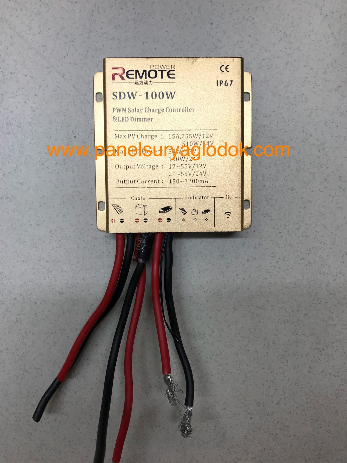 Solar Charge Controller Sdw 100w 15 A Merek Remote Panel