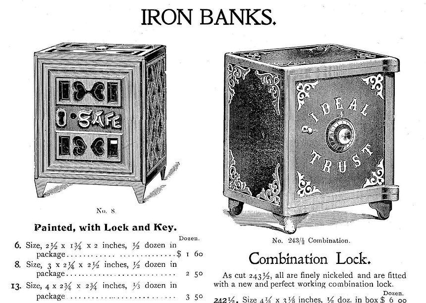 children's toy safeboxes, 1900