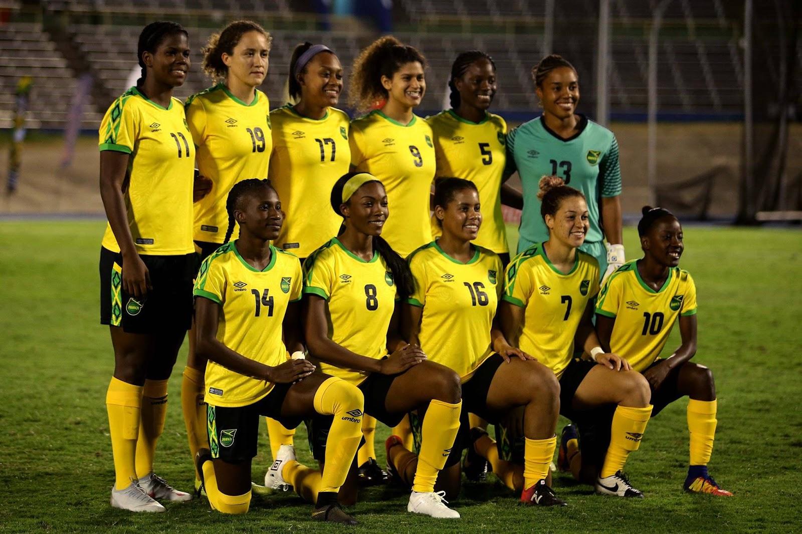 Formación de selección femenina de Jamaica ante Chile, amistoso disputado el 28 de febrero de 2019