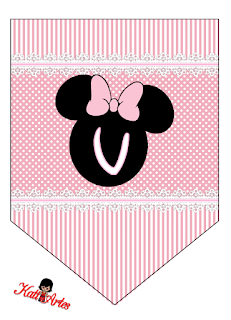 Alfabeto en Banderines de Minnie Rosa. Free Printable Minnie Bunting in Pink.