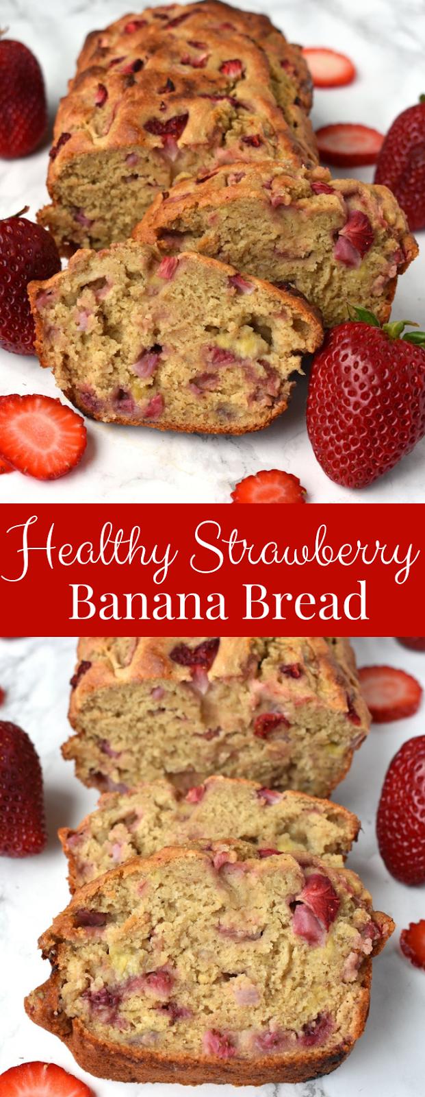 Healthy Strawberry Banana Bread recipe