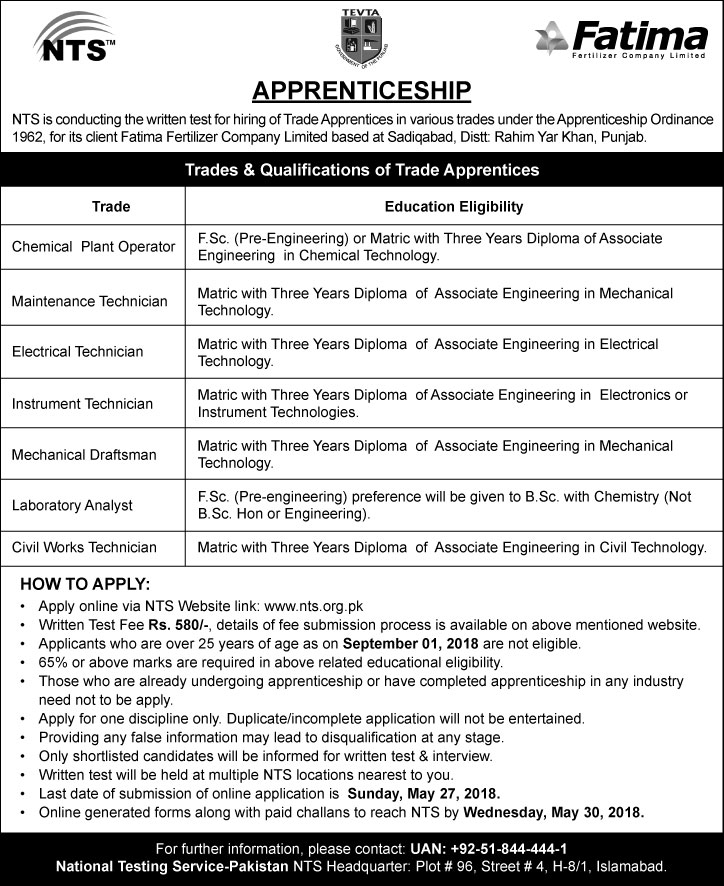 Jobs in Fatima Fertilizer Company Limited (Apprenticeship 2018) via NTS