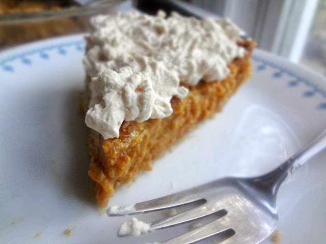 Pumpkin Pie with Whole Wheat Crust and Cinnamon Caramel Whipped Cream