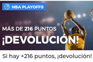 Paston Playoffs NBA: Si hay más de 216 puntos Devolución 3-6 mayo