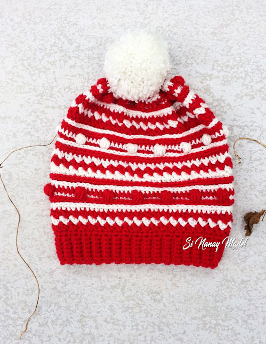 Red and White Bobble Hat