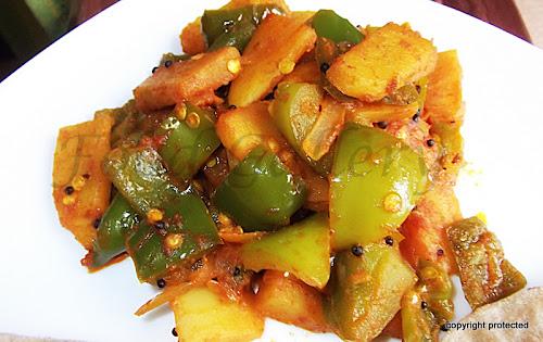 Aloo Capsicum fry, Aloo capsicum sabzi