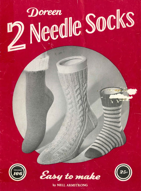 The Vintage Pattern Files: Free 1950s Knitting Pattern - Doreen 2 Needle Socks Booklet