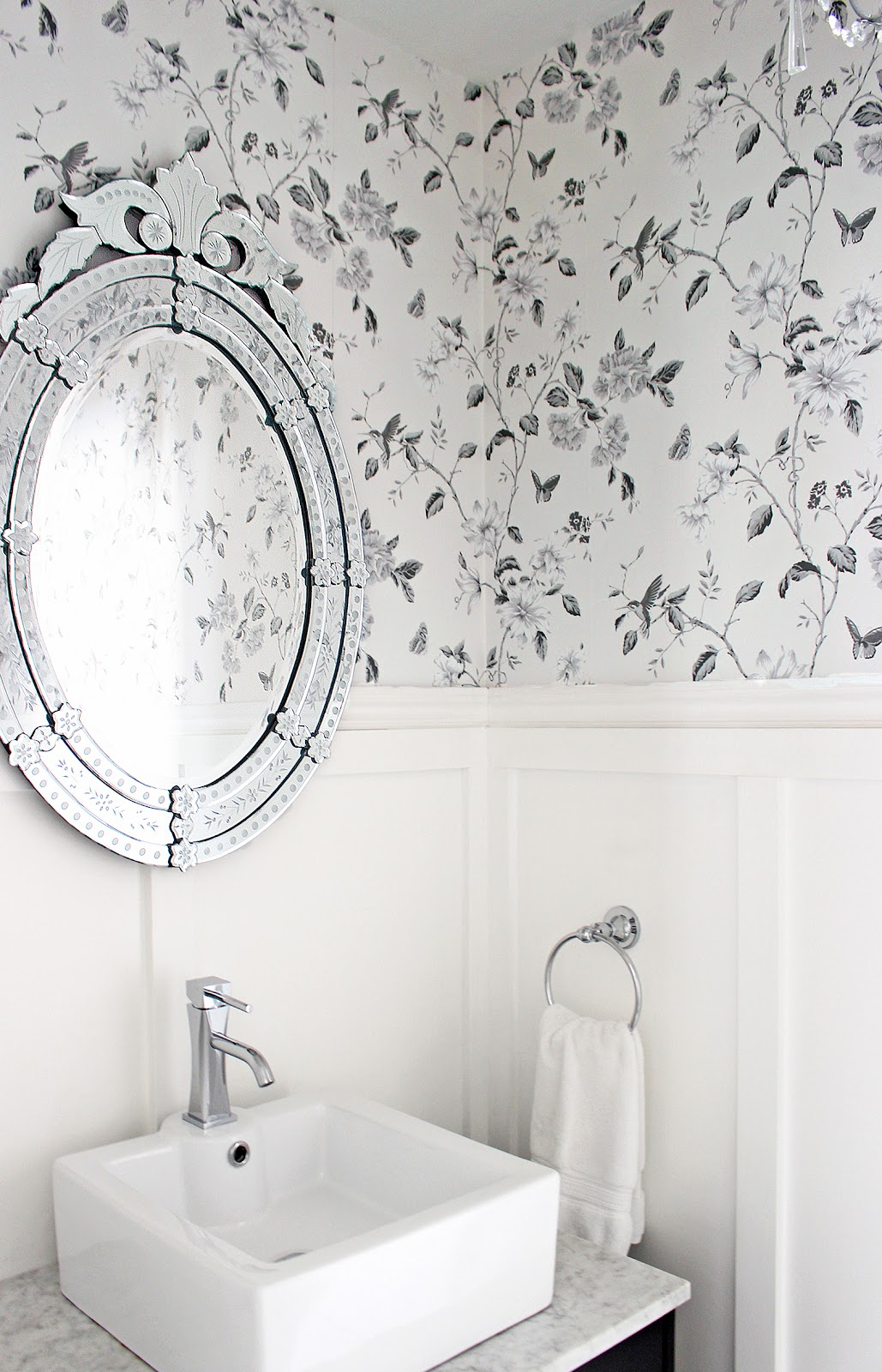 black and white wallpaper for bathrooms am dolce vita powder room makeover 25150