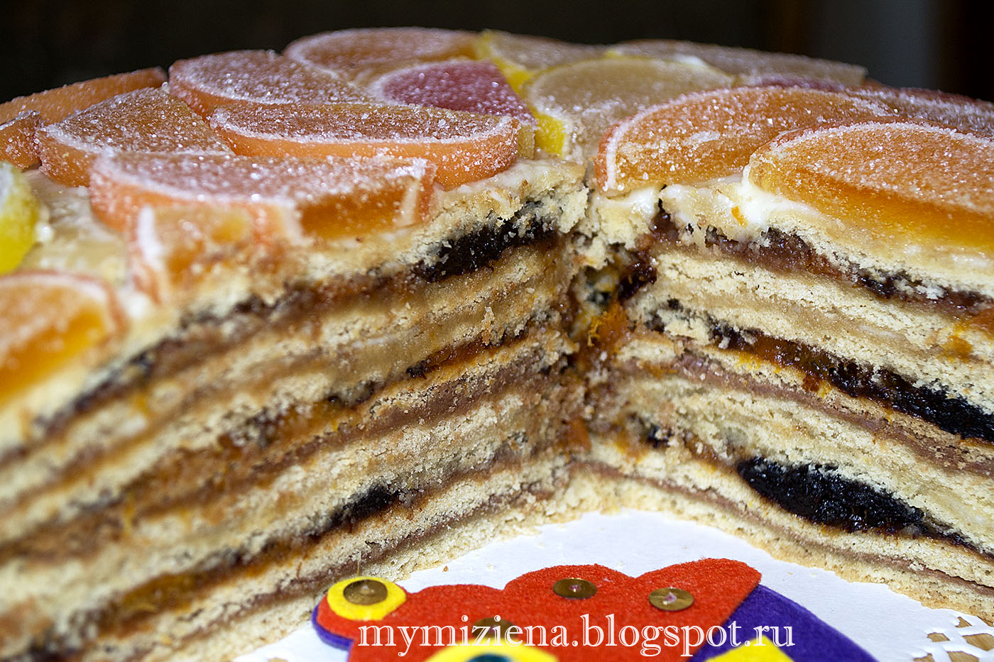 торт наполеон с сухофруктами