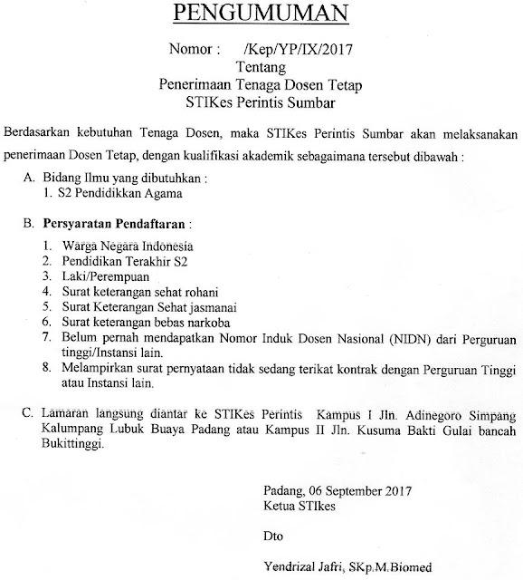 Penerimaan Dosen Tetap STIKes Perintis Sumbar Tahun 2017
