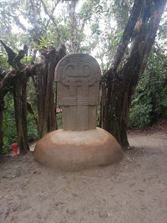 One of the famous stone statues at the San Agustín archaeological park, Huila, Colombia.