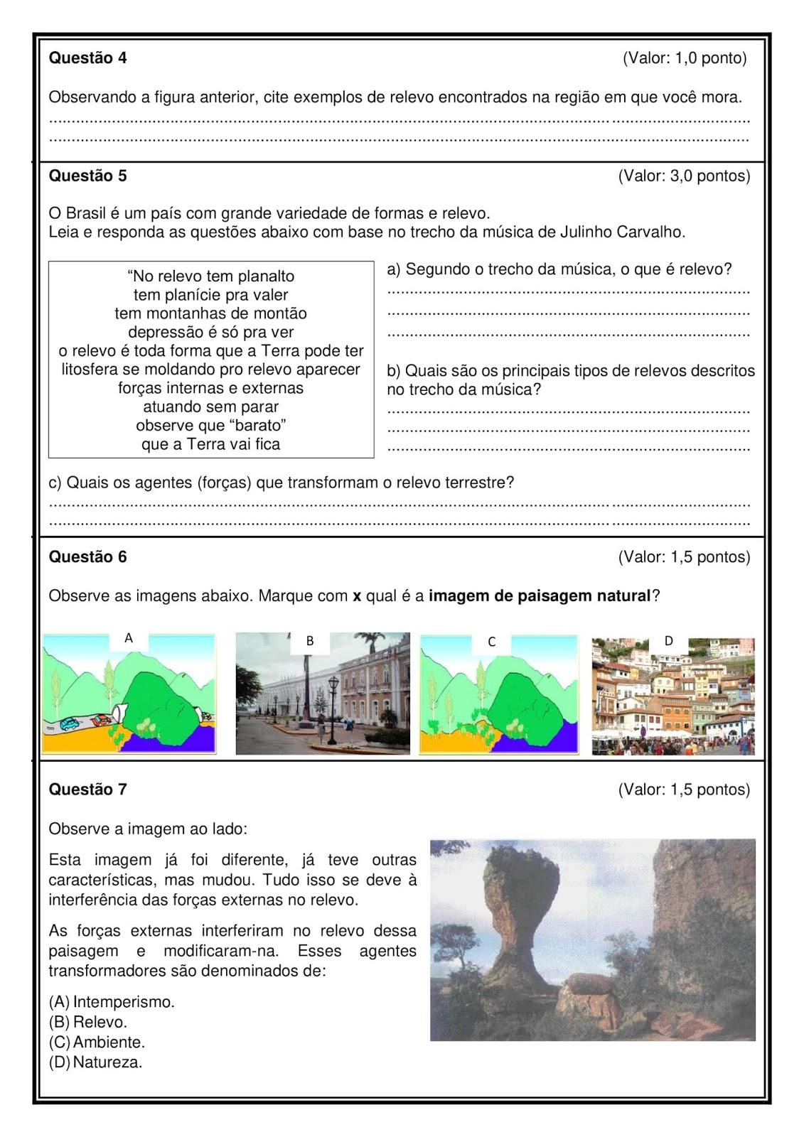 Prova de Geografia 4o Ano para Imprimir