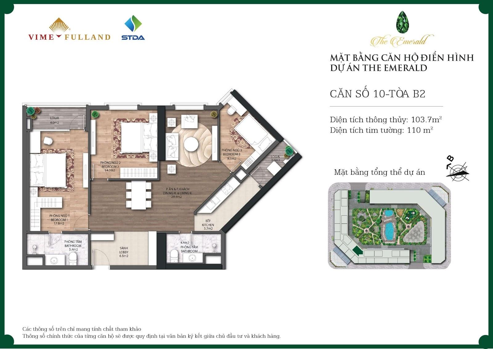 Thiết kế chi tiết mặt bằng căn hộ tòa B dự án The Emerald Mỹ Đình