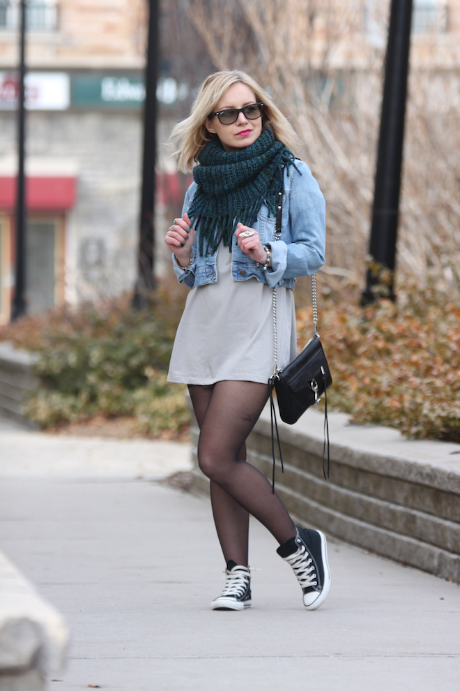 Shift dress with jean jacket
