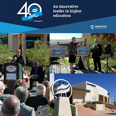 Rio Salado 40th anniversary banner with text: An innovative leader in higher education. Collage of photos of Communiversity at Surprise ribbon cutting ceremony, featuring former President Linda Thor and guests.