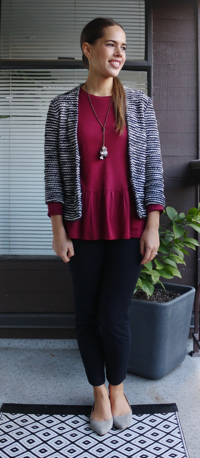 Jules in Flats - Peplum Tee with Tweedi-sh Jacket
