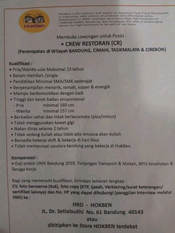Lowongan Kerja Hokben Bandung Terupdate 2020 2021