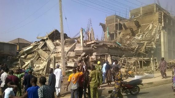 pictures from the collapsed Itokun shopping mall abeokuta