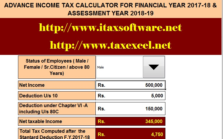 Advance Income Tax Calculator for the Financial Year 2017-18 and Ass - Income Tax Calculator