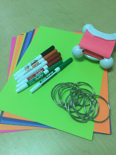 Counselor must haves photo of colorful card stock, post it notes, book rings, skinny dry erase markers