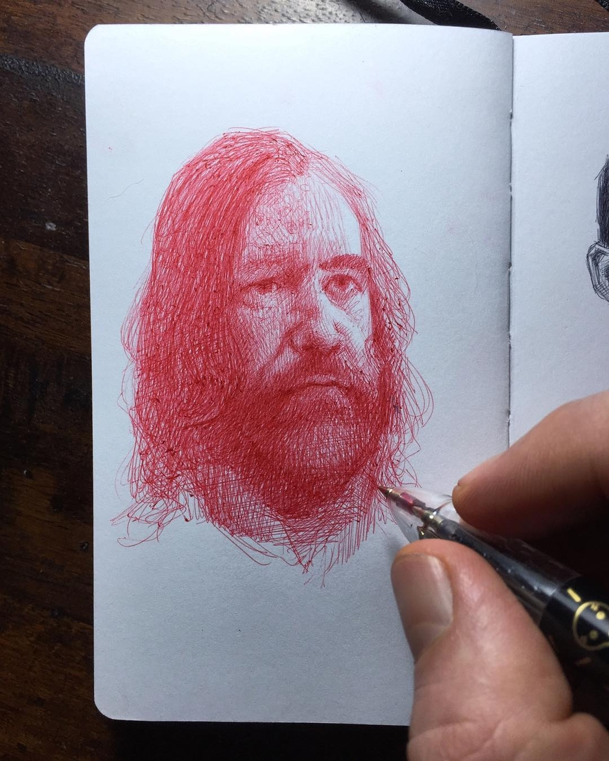 09-The-Hound-from-of-Game-of-Thrones-Arthur-Gains-Moleskine-Sketches-of-Celebrities-and-other-Portraits-www-designstack-co