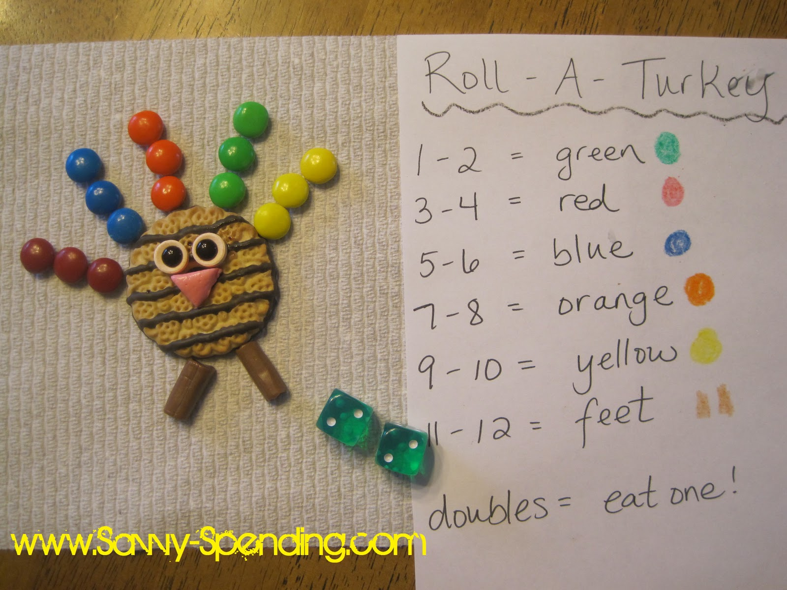Savvy Spending Roll A Turkey Preschool Game Plus A Use For Halloween Candy