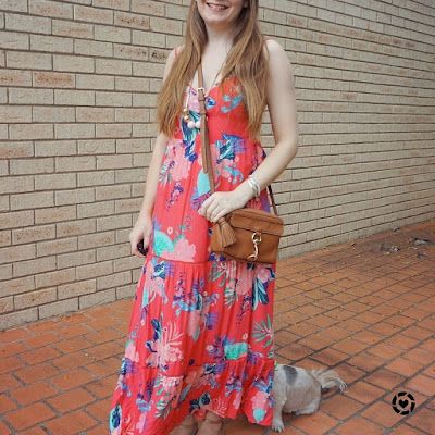 awayfromblue Instagram Kmart Tropicana sleeveless tiered maxi dress stay at home mum style