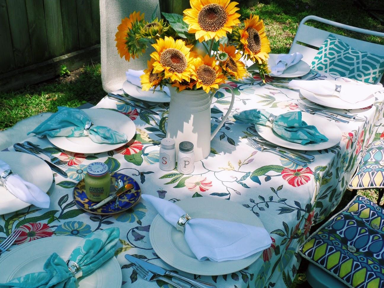sunflowers brunch, target vine tablecloth, kate spade plates, easter brunch