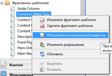Переключение типа редактора для фрагмента шаблона в Composite C1 CMS