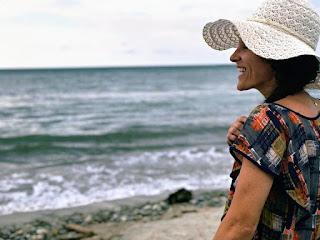 girl, beach, ocean, smiling, landscape, Honduras